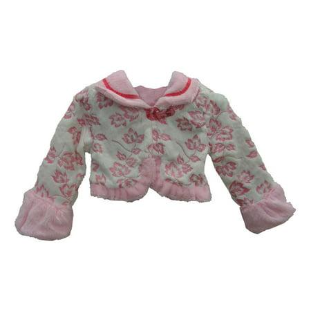 Little Girls Pink Leaf Pattern Soft Beautiful Design Faux Fur Jacket ()