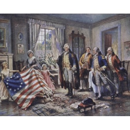 Betsy Ross Shows Washington the Stars and Stripes Edward Percy Moran (1862-1935American) Stretched Canvas - Edward Percy Moran (18 x (Betsy Ross 13 Star)