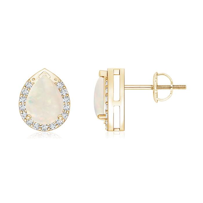 Angara Pear-Shaped Opal Stud Earrings with Diamond Halo 6lhGoZ3