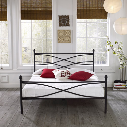 Premier Pia Metal Platform Bed Frame, Queen with Bonus Base Wooden Slat System