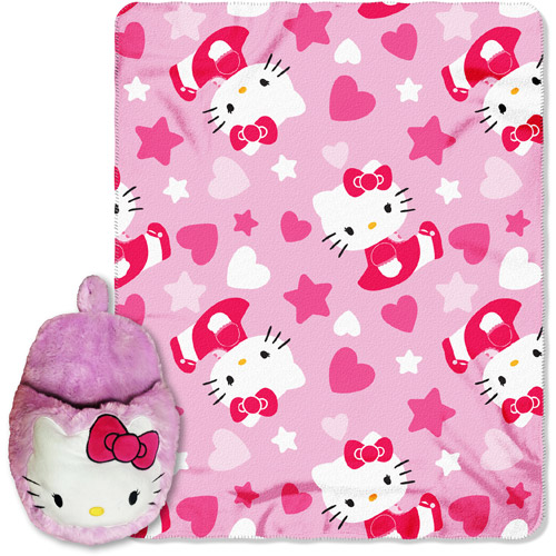"Hello Kitty Hearts of Fun 40"" x 50"" Throw with Foot Warmer"