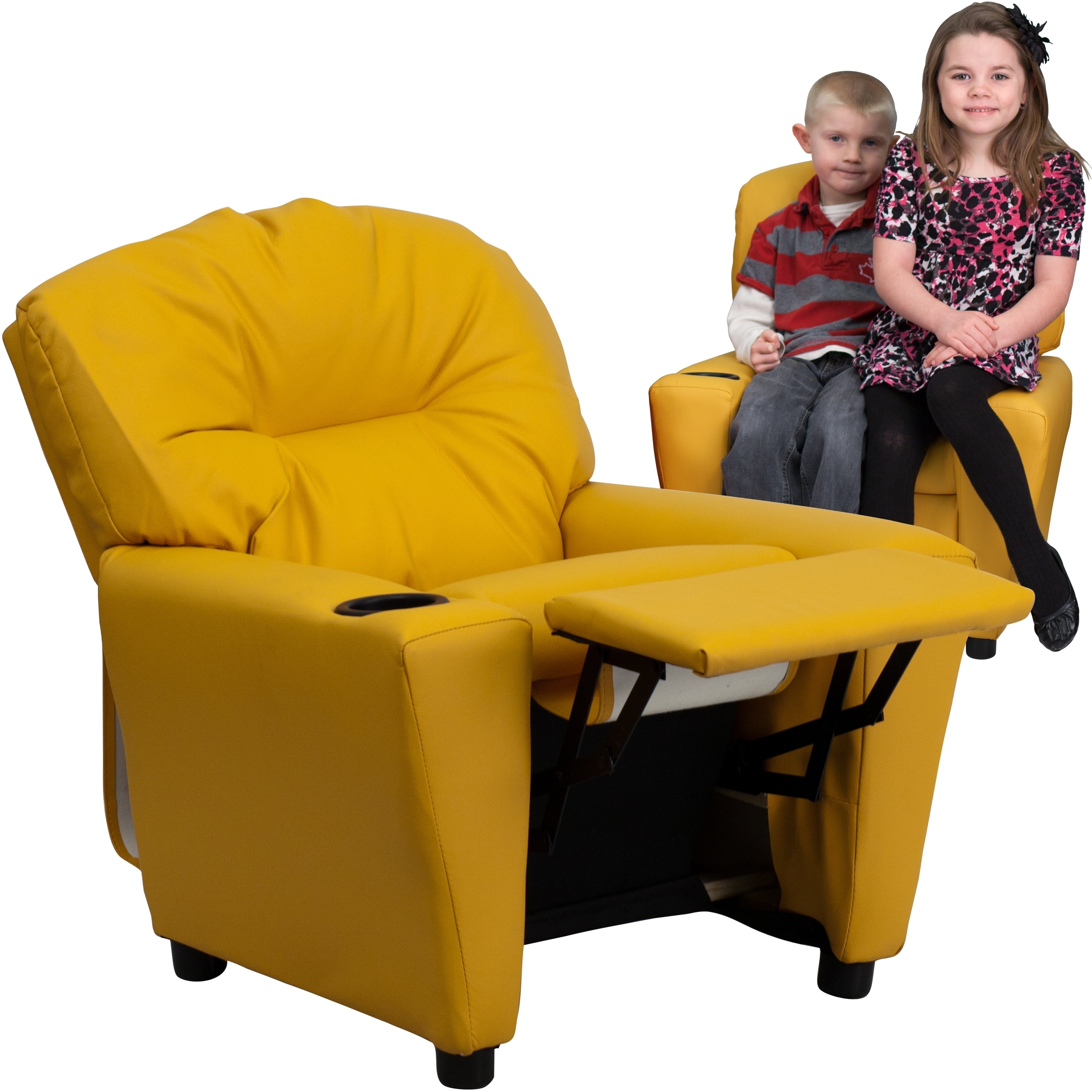 Lancaster Home  Contemporary Yellow Vinyl Kids Recliner with Cup Holder
