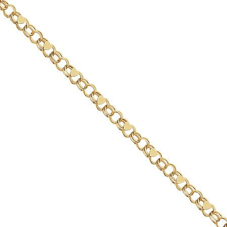 10k Double Link Heart Charm Bracelet 10k Link Charm Bracelet