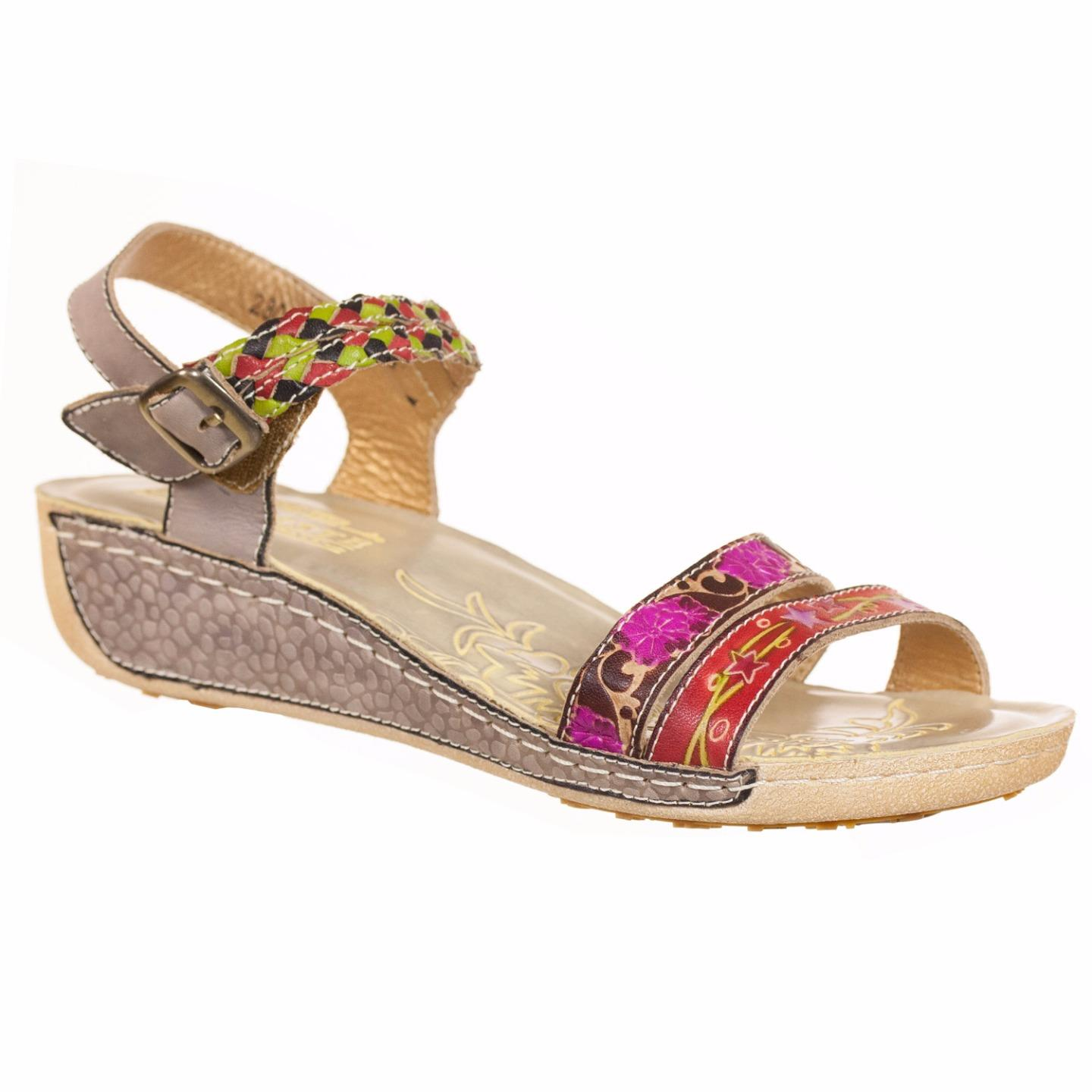 L'Artiste Collection By Spring Step Women's Amadora Sandal Grey Multi EU 37 US 7 by Spring Step
