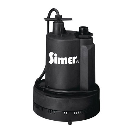 Simer 2305 Submersible Utility Pump, Thermoplastic, 15