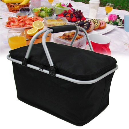 Insulated Picnic Basket - Strong Aluminum Frame - Waterproof Lining - Collapsible Design for Easy Storage - Take it Camping, Picnicking, Lake Trips, or Family Vacations Gourmet Picnic Basket