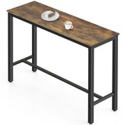 """FITUEYES High Top Pub Bar Table 47.2"""" Industrial Bistro Table, Rustic Brown"""