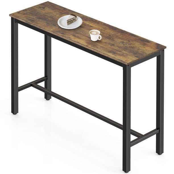 Fitueyes High Top Pub Bar Table 47 2 Industrial Bistro Table Rustic Brown Walmart Com Walmart Com