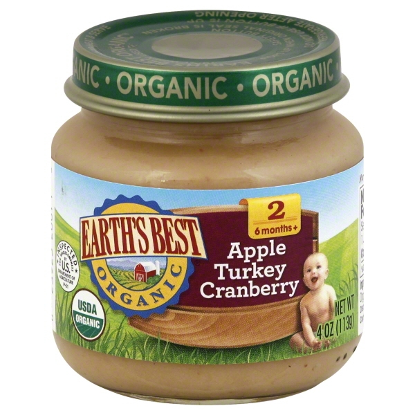 Earth's Best Organic Baby Food Apple Turkey Cranberry 4 oz, 12 Pack