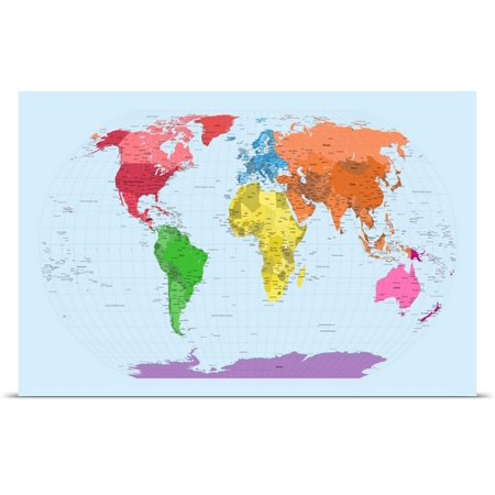 Great BIG Canvas Michael Tompsett Poster Print entitled Continent map of the world