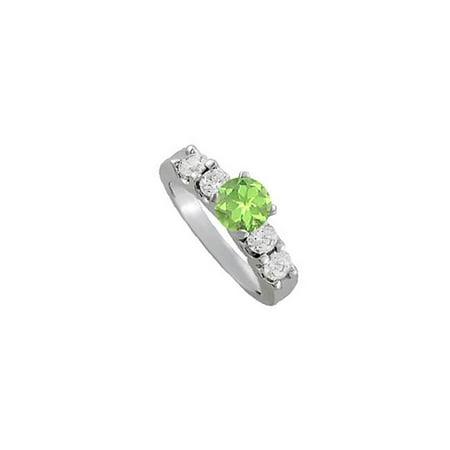 Fine Jewelry Vault UBNR50603AGCZPR August Birthstone Peridot & CZ Elegant Engagement Ring in Sterling Silver, 4