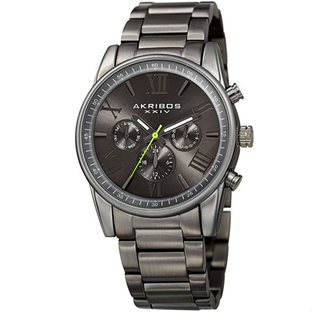Men's Swiss Quartz Multifunction Dual Time Gray Bracelet Watch - -