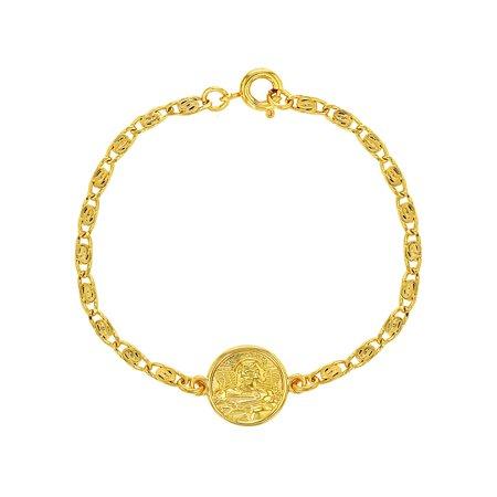 18k Gold Plated Guardian Angel Medal Protection Children's Bracelet 5.5