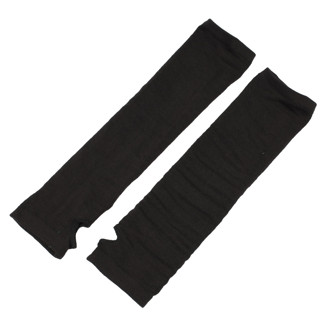 Women Black Elastic Fingerless Knitted Winter Warming Arm Warm Gloves Pair