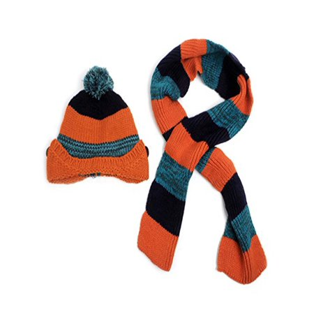 Striped Snowboard Beanie Hat (Kid's Knitted Striped Beanie Hat and Scarf Winter Set)