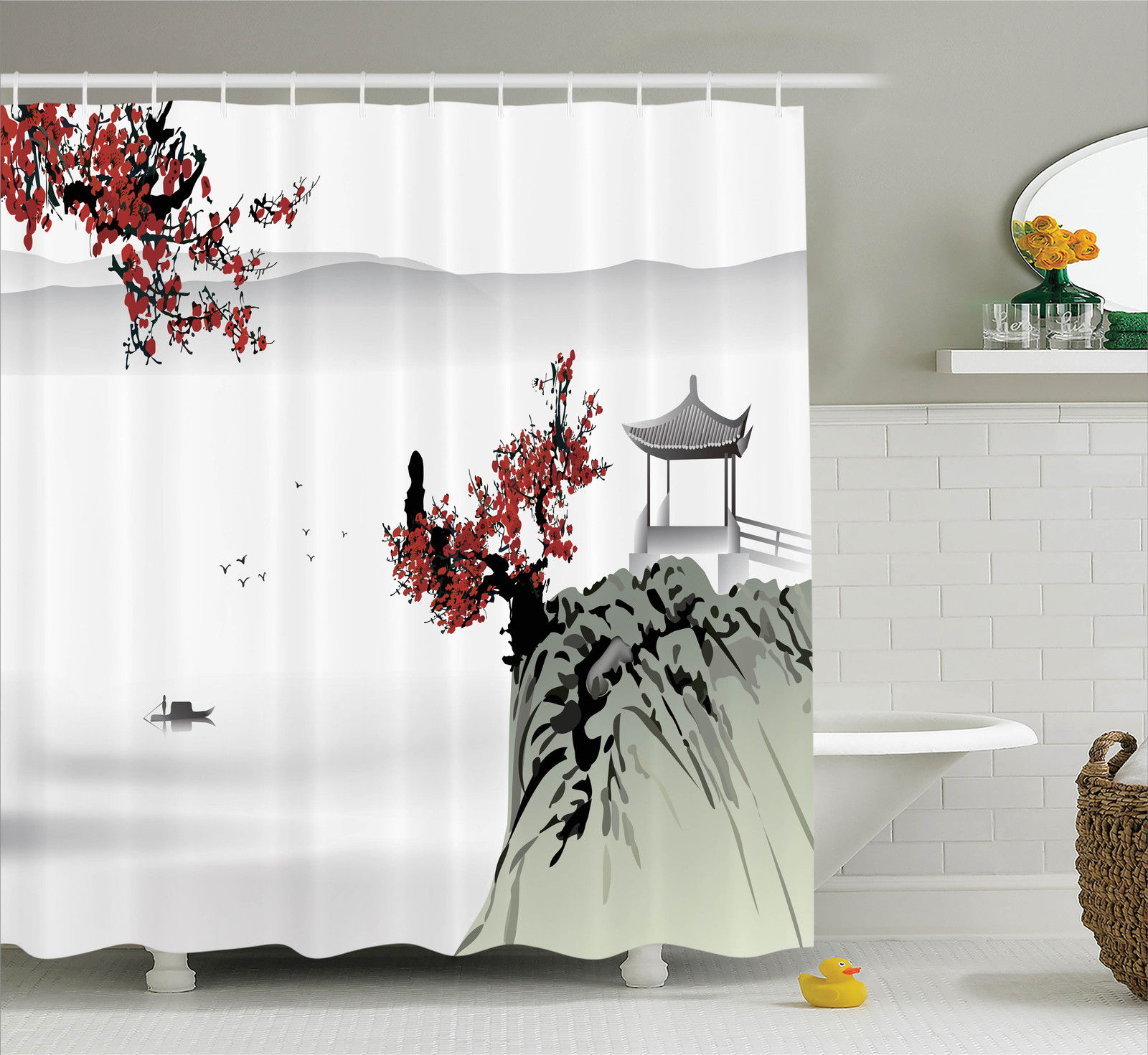 Asian Decor Shower Curtain Set, Asian River Scenery With Cherry Blossoms  And Boat Cultural Hints