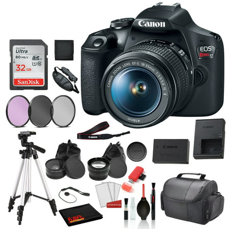 Canon EOS Rebel T7 Digital SLR Camera with 18-55mm Lens (2727C002) Professional package deal Bundle 'SanDisk 32gb SD Card + 3PC Filter Kit + 57' Tripod + MORE