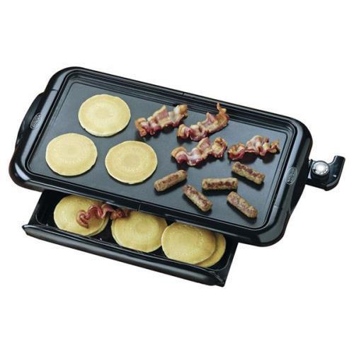 No.NGD200 Nostalgia Electrics Electric Griddle with Warming Drawer Black