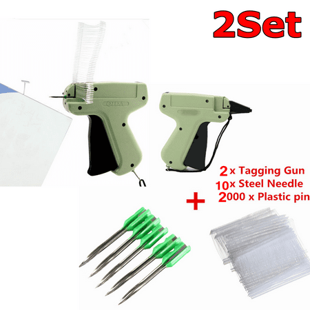 2 Set Clothes Garment Price Label Tagging Gun Tag Machine +2000 Tag Barbs+10 Needle Features: 1. Tag attaching gun, with steel needle and plastic pin. 2. Use in attaching barcode or price tags to clothing. 3. Simple use, smaller more comfortable grip, druable. 4. Save manpower, reduces the cost. Specifications: Material: Plastic and metal Gun Weight: About 130g Length Of Plastic Pin: 50mm NOTE: Please allow some errors of manual measurement, thank you for your understanding! Package Includes: 2 x Tagging Gun 10 x Steel Needle