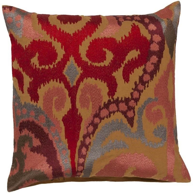"Surya Ara Down Fill 22"" Square Pillow in Red and Orange"