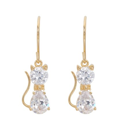18kt Yellow Gold Plated Sterling Silver Cubic Zirconia Cat Dangle Earrings](Cat Ear Ring)