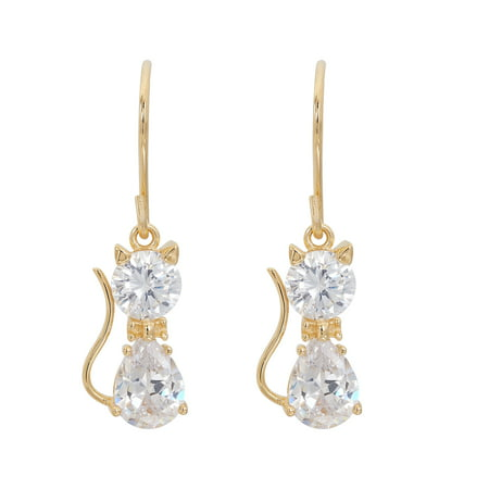 18kt Yellow Gold Plated Sterling Silver Cubic Zirconia Cat Dangle Earrings (Earrings Cat Gold)