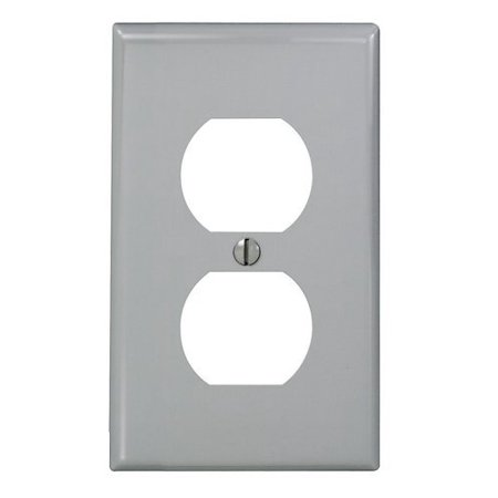 - Leviton 80703-GY Gray Nylon Single Gang Duplex Receptacle Wall Plate