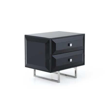 Whiteline Modern Living Black Abrazo Contemporary High Gloss Nightstand, Self-Close Drawers ()