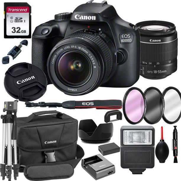 Canon EOS 4000D / Rebel T100 DSLR Camera with 18-55mm f/3.5-5.6 Zoom Lens + 32GB Card, Tripod, Flash, and More (18pc Bundle)
