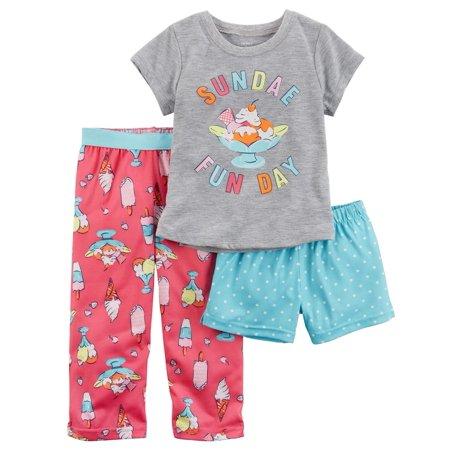 Carter's Big Girls' 3-Piece Jersey PJs, 8 Kids