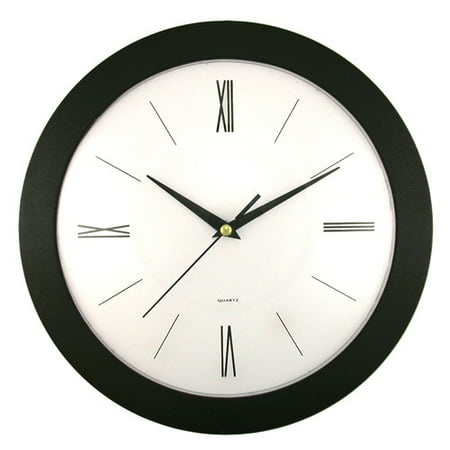 Round Black Frame Wall Clock with White Dial (Majestic Solid Clock)