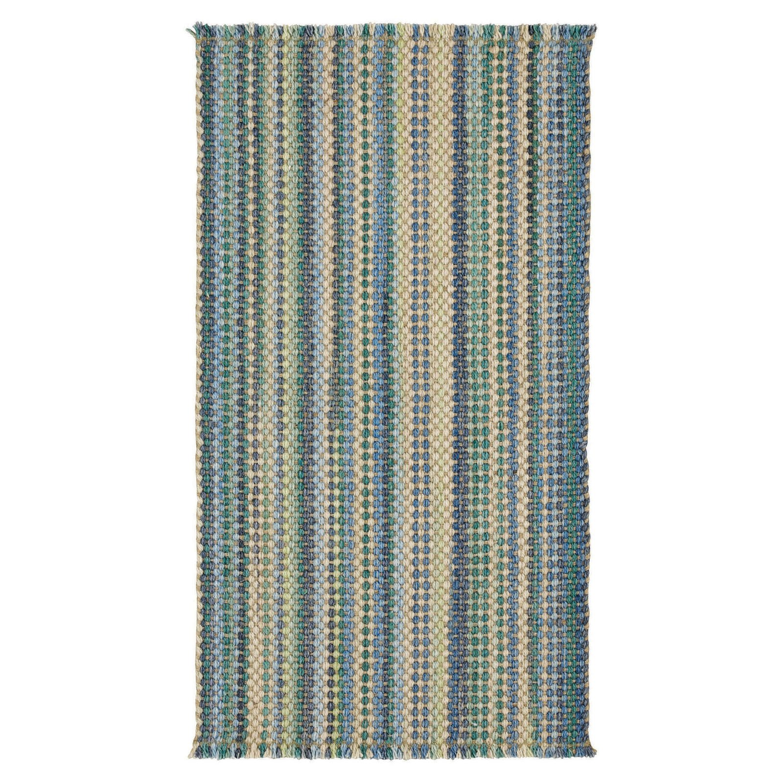 Nags Head 0404 Vertical Stripe Flat Woven Rectangle Area Rug - Blue