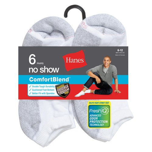 Hanes Men's FreshIQ Comfort Toe No Show Socks 6-Pack