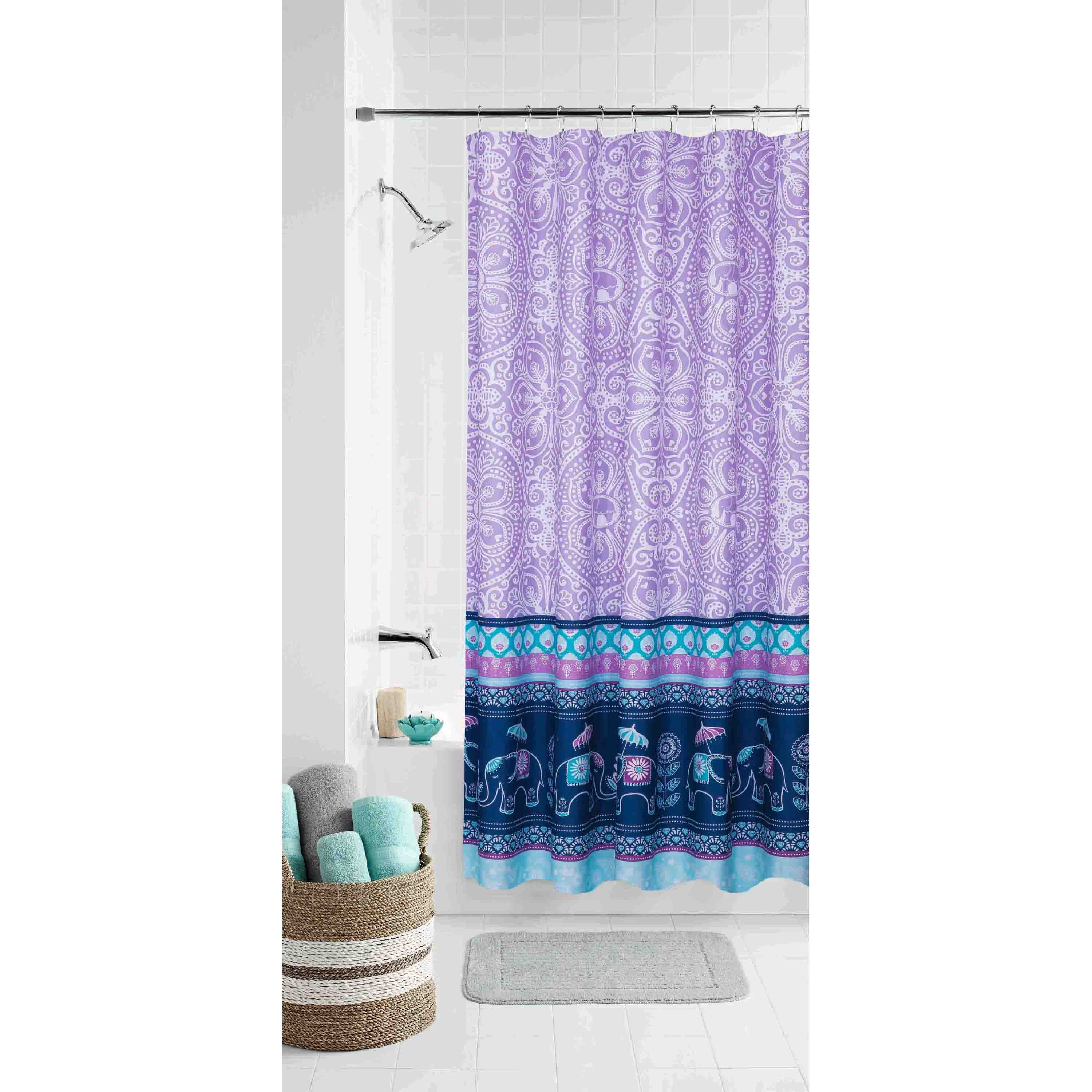 Mainstays Kids Elle Boho Coordinating Fabric Shower Curtain