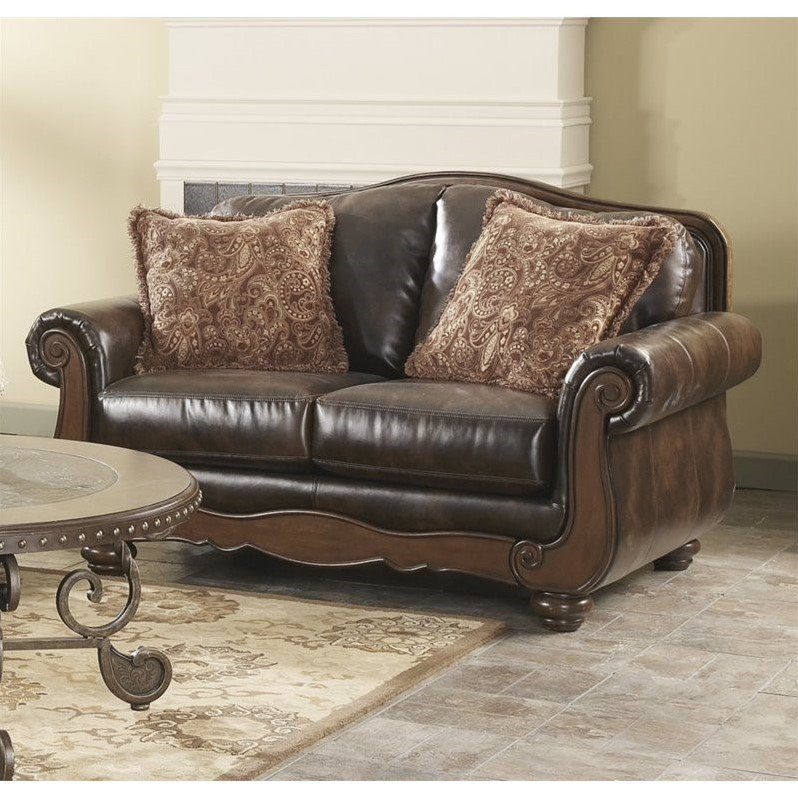 Ashley Barcelona Faux Leather Loveseat In Antique