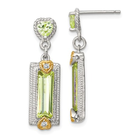 Roy Rose Jewelry Sterling Silver and Vermeil Light Green CZ Post -