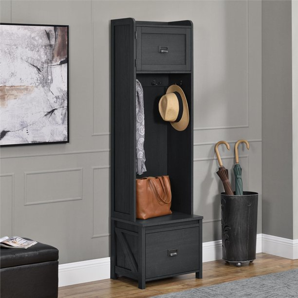 SystemBuild Farmington Entryway Hall Tree with Storage Bench, Multiple Colors Available