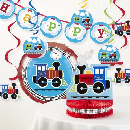 The Party Aisle All Aboard Train Birthday Party Decoration Kit