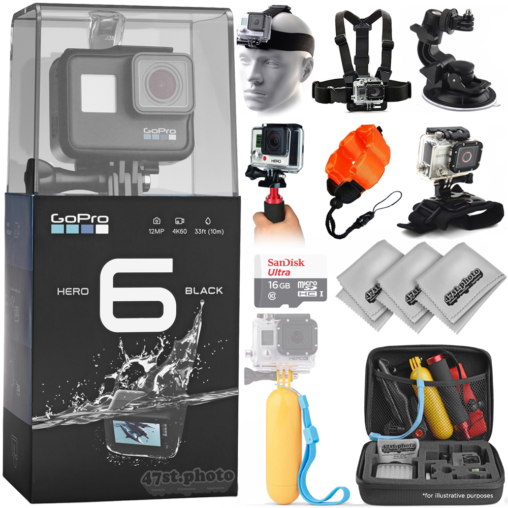GoPro Hero 6 Hero6 Black 4K Ultra HD Camera Sport Action Bundle w/ Headstrap + Chest Harness + Suction Cup + Floaty Strap + Wrist Hand Glove + Case + Mini Tripod + Dust Blower + Cleaning Kit