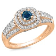 1.00 Carat (ctw) 14K Rose Gold Round Cut Blue   White Diamond Ladies Vintage Style Bridal Halo Engag