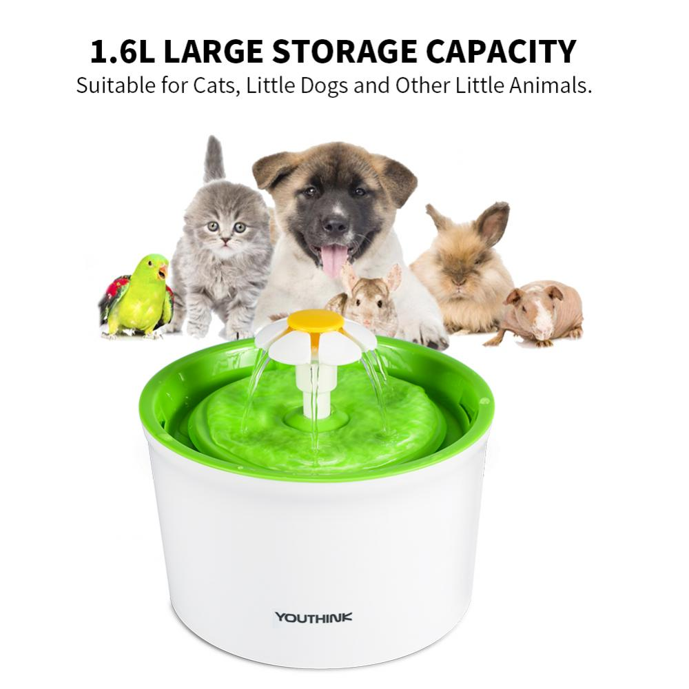 Tbest Automatic Electric 1.6L Pet Water Flower Fountain Dog Cat Drinking Bowl Dish US,Automatic circulation filter pet water dispenser has strong filtration of hair.