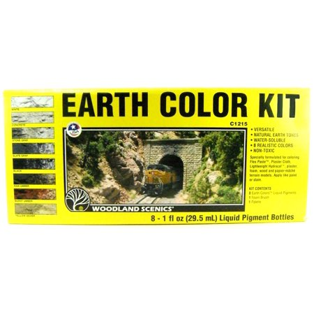 Woodland Scenics C1215 EARTH COLOR KIT 8 Liquid Pigment Bottles Scenery Stains Colors