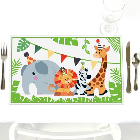 Jungle Party Animals - Party Table Decorations - Safari Zoo Animal Baby Shower or Birthday Party Placemats - Set of 12 for $<!---->