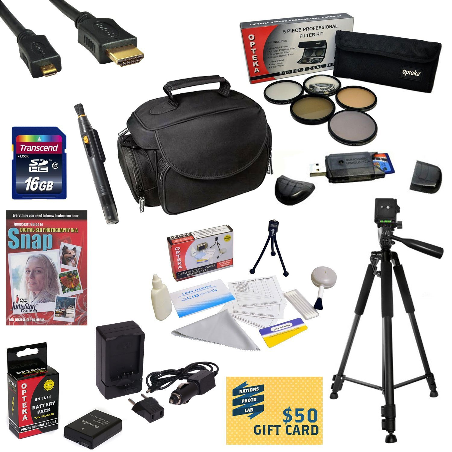 Best Value Kit for Nikon D5300 16GB SDHC Card, Card Reader, Battery, Charger, 67MM 5 Piece Pro Filter Kit, HDMI Cable, Padded Gadget Bag, Tripod, Lens Pen, Cleaning Kit, DVD, $50 Gift Card, More