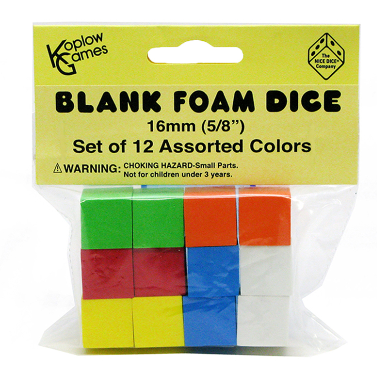 16MM FOAM DICE 12PK ASSORTED COLOR BLANK
