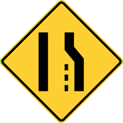 Traffic Signs - Right lane ends or road narrows from the right 12 x 18 Peel-n-Stick Sign Street Weather Approved Sign