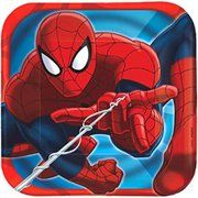 "Marvel Spider-Man 7"" Square Plates, 8 Count, Party Supplies"