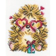 "Hedgehog In Love Counted Cross Stitch Kit-5""X6.75"" 14 Count"