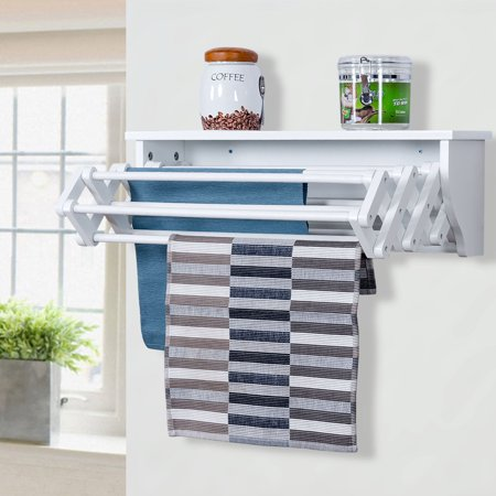 Wall Mounted Drying Rack Folding Clothes Towel Laundry Room