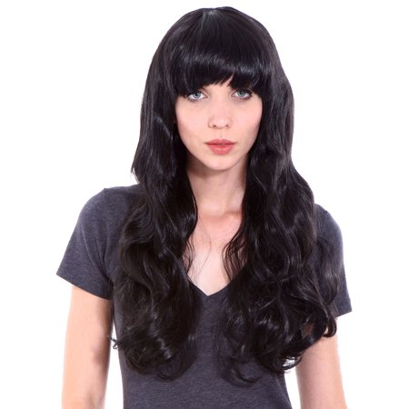 Sexy Long Curly Synthetic Hair Wig (Black) (Model: Jf010269)](Male Wigs Long Hair)
